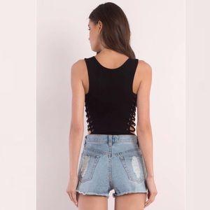 Tobi Tops - Black Lace up Bodysuit by Tobi x Hot & Delicious